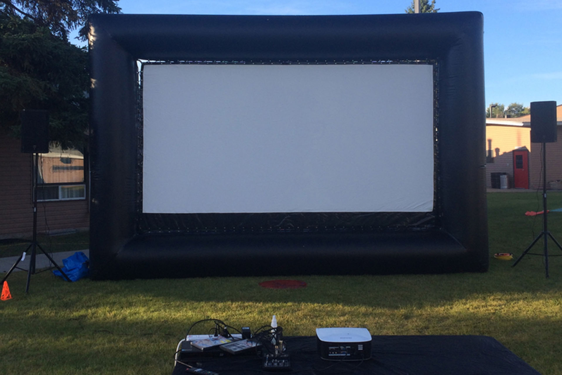 large inflatable movie screen and projector