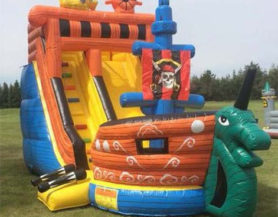 Inflatable pirate ship and slide bouncer play area