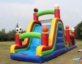 Inflatable sports theme slide and bouncer play area